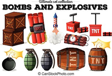 Bombs and explosive objects illustration