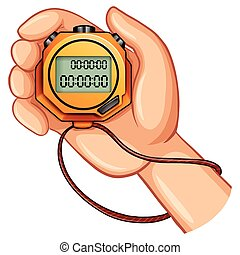 Stopwatch in the hand illustration