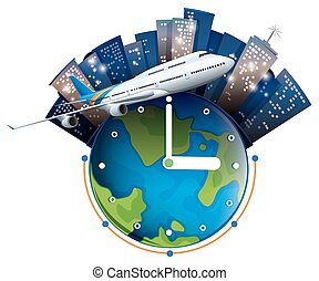 Plane travel around the world illustration