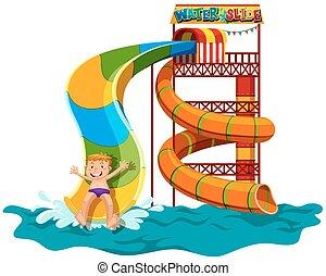 Man sliding down the water slide illustration