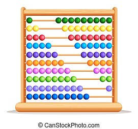 Colorful abacus with wooden frame illustration