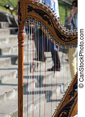 A symphony musical instrument called harp details