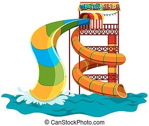 Water slide at the park illustration