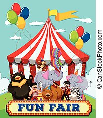 People and animals at the fun fair illustration