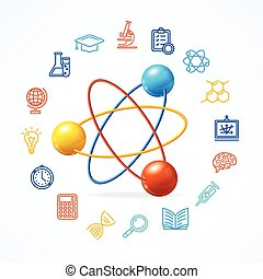 Science Concept and Outline Colorful Icons Set. Vector...