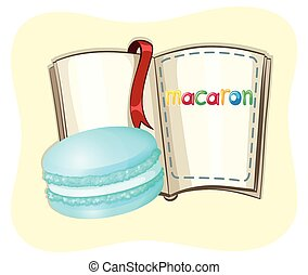 Blue macaron and a book illustration