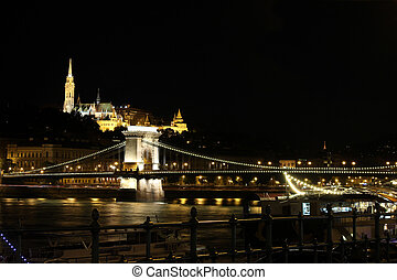 Fishermans Bastion and chain bridge Budapest by night