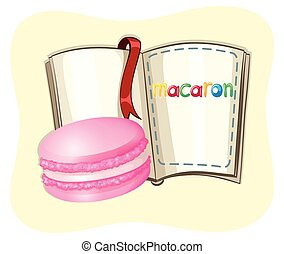 Pink macaron and a book illustration