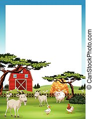 Border design with farm animals illustration