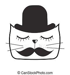 Cute Handdrawn Cat Vector Illustration - Cute Handdrawn Cat...