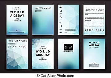 Set of brochure, poster design templates in World AIDS Day...