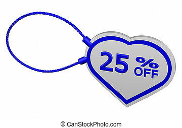 Heart tag with sign discount 25 off, isolated on white...