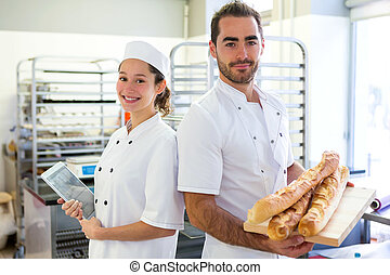 panaderos, panadería, trabajando, equipo