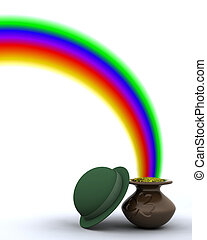 st patricks day - 3d render of rainbow and pot of gold for...