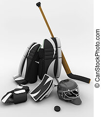 ice hockey goalie equipment - 3D render of ice hockey goalie...