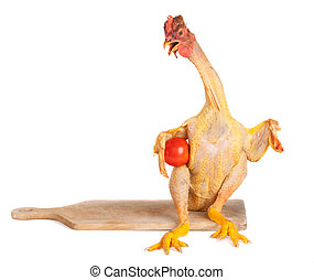 chicken standing on white - raw full lenght chicken standing...