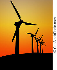 wind turbine in the sunset 3d image background