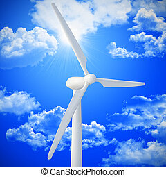 wind turbine background - wind turbine and blue sky 3d image...