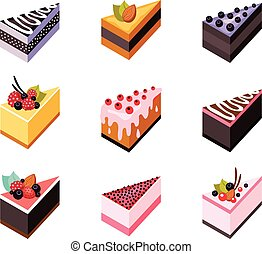 Cake delicious dessert collection - Cake set Isometric flat...