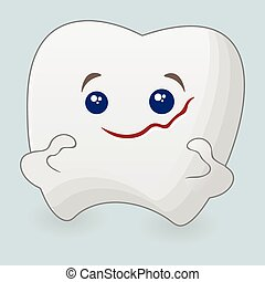Strong tooth cartoon illustration. Icon on a blue background