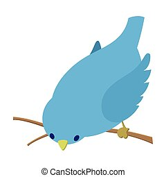 Bend down blue bird illustration. Single cartoon...