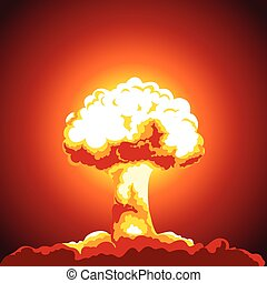 Nuclear explosion illustration. Mushroom cloud. Color...
