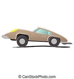 Retro cartoon car Illustration isolated on white background