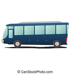 Bus public transportation cartoon. Single blue illustration...