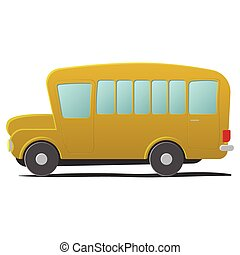 Yellow school bus cartoon. Single illustration isolated on...