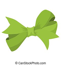 Cartoon bow green sign isolated on white background