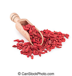 Goji Berries - Dried Goji Berries Wooden Spoon