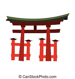 Japan Gate - Torii gate in flat style