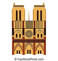 Notre Dame de Paris Cathedral, France. Flat style
