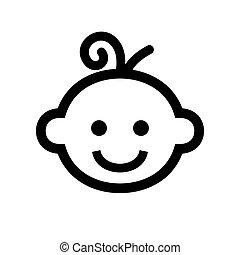 Boy Baby Face Icon Logo. Vector illustration