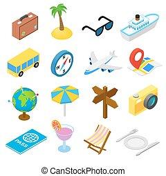 Travel isometric icons set isolated on white background