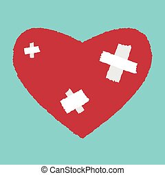 Patched heart - Red heart with white patches Medicine,...