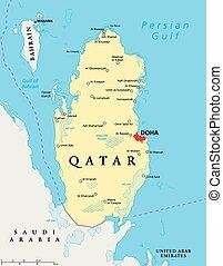 Qatar Political Map - Qatar political map with capital Doha,...