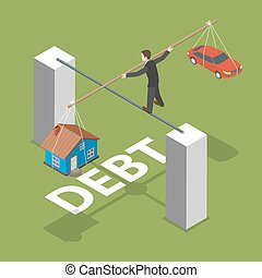 Debt isometric flat vector concept. Man walks by thin stick...