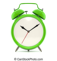 Alarm clock on white background with shadow Vintage style...