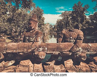 Bridge of the Preah Khan Temple, Siem Reap, Cambodia