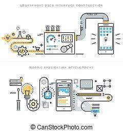 Mobile app development concepts - Flat line concepts for...