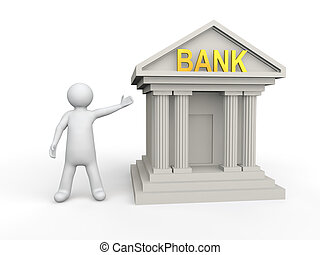 3d man with bank building