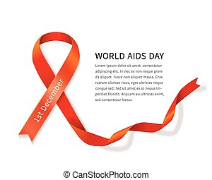 Vector AIDS ribbon - AIDS awareness red satin ribbon loop...
