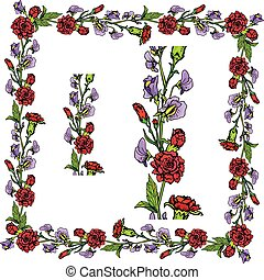 Set of ornaments - decorative hand drawn floral border and frame with  clove and sweet pea flowers, isolated on white background.