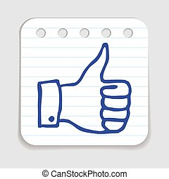 Doodle Thumbs Up icon Blue pen hand drawn infographic symbol...