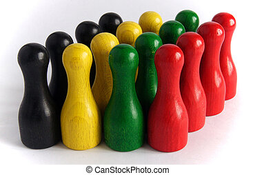 Wooden bowling pins - Photo shows a colourful wooden bowling...