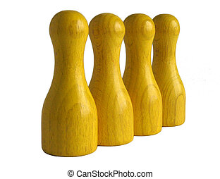 Yellow wooden bowling pins - Photo shows four yellow wooden...