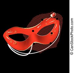 carnival half-mask and pin - black background and a carnival...