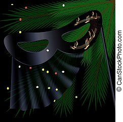 black half mask and tree - festive background and a carnival...