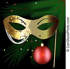 golden festive mask - festive background and a carnival half...